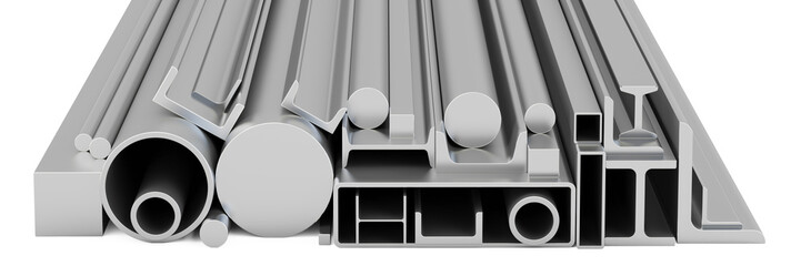 Stack of Rolled Metal Products, 3D rendering