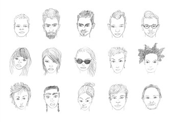 People faces pencil drawing. Men and women faces hand drawing cartoon. Pencil sketching.