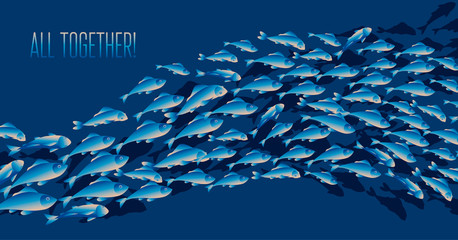 School of fish vector illustration for header, web, print, card and invitation. Plenty of herring or cod moving in the sea.