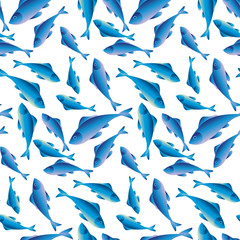 Fish vector illustration for background, fabric, wrapping paper, wallpaper. Surface design with herring or cod fishes.