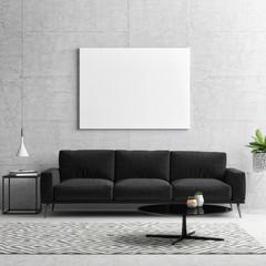 Mock up poster, black and white concept living room, 3d illustration