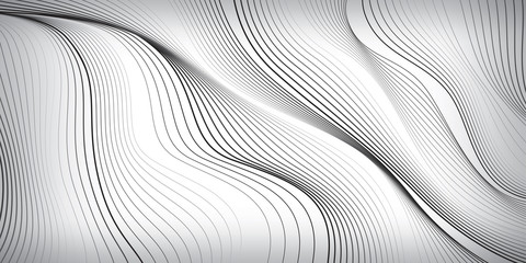 Waves of black lines on white background, abstract wallpaper, vector design