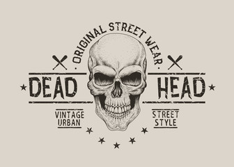 Street style old label with skull for t-shirt