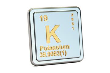 Potassium, K chemical element sign. 3D rendering