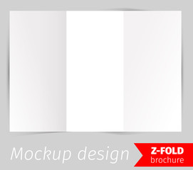 Z-fold brochure mockup design, blank white paper, realistic rendering, isolated on grey background, copyspace for text, sheet template for menu, booklet or presentation data, vector illustration