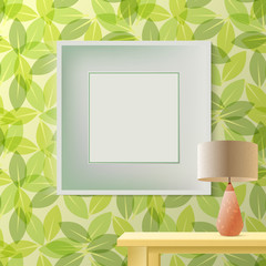 Green leaf spring printed wallpaper with empty frame for copyspace on wall, elegant fresh interior room mockup for young lady, table with lamp, realistic fashion design, vector illustration
