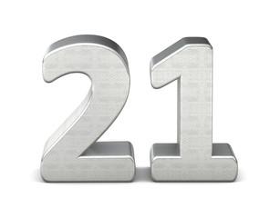 21 zahl silber 3d number silver struktur