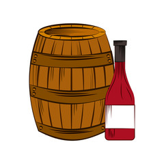 barrel and wine bottle icon over white background. wine house concept. colorful design. vector illustration