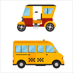 Yellow taxi bus vector illustration isolated car city travel cab transport traffic road street wheel service symbol icon passenger auto sign set