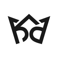 letter k and d logo vector.