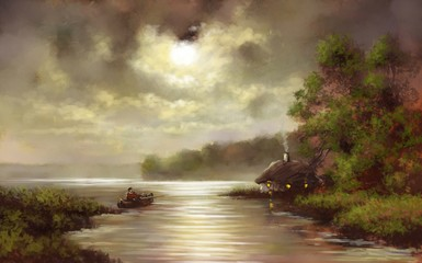 Fisherman, moon, paintings landscape in old style