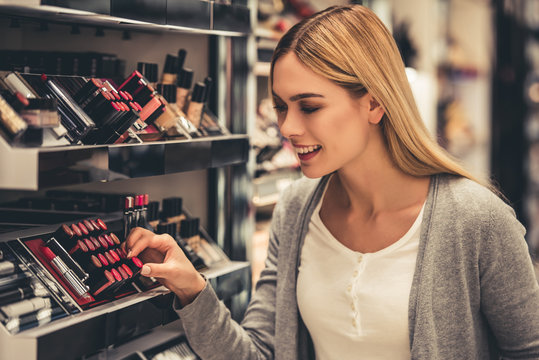Attractive girl going shopping