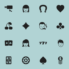 Set Of 16 Editable Casino Icons. Includes Symbols Such As Female Face, Berry;, Tracking Cam And More. Can Be Used For Web, Mobile, UI And Infographic Design.