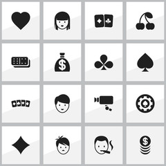 Set Of 16 Editable Excitement Icons. Includes Symbols Such As Shamrock, Card Suits, Tracking Cam And More. Can Be Used For Web, Mobile, UI And Infographic Design.