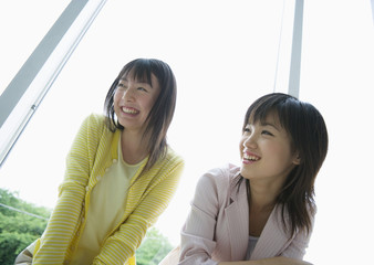 Smiling two young women