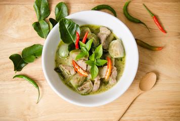 Thai food, Green curry pork in a bowl