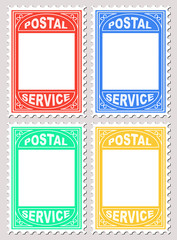 Vector Illustration of Postal Stamp Shape Blank Placard for writing notices upon.