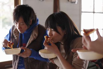 Young people having lunch