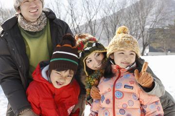 Fotobehang Carnaval Family in winter