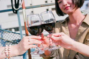 Women having a toast with wine at girls' party