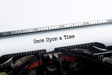 Once Upon a Time typed. Vintage typewriter. Copyspace.