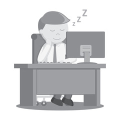 Businessman sleep while working black and white color style