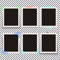 Set of isolated realistic empty vector photo frames. Template ph