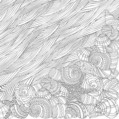 Sea shells ans sea waves