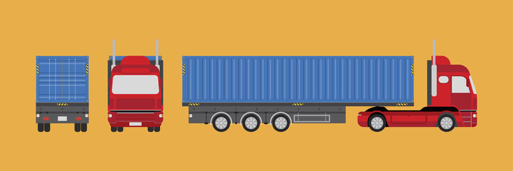 Big truck with container. View the front, rear and side. Flat vector illustration EPS 10