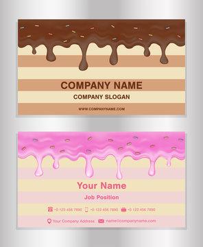 chocolate and doughnut glaze theme business card
