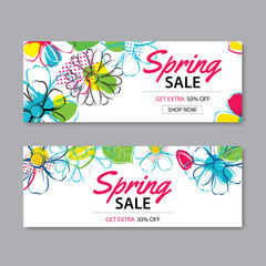 Spring sale banner template with colorful flower background.Can be use voucher, wallpaper,flyers, invitation, posters, brochure, coupon discount.