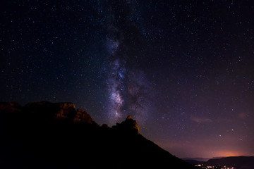 Milkyway Rising From Rock Formation