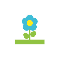 Vector icon or illustration showing flower in material design style