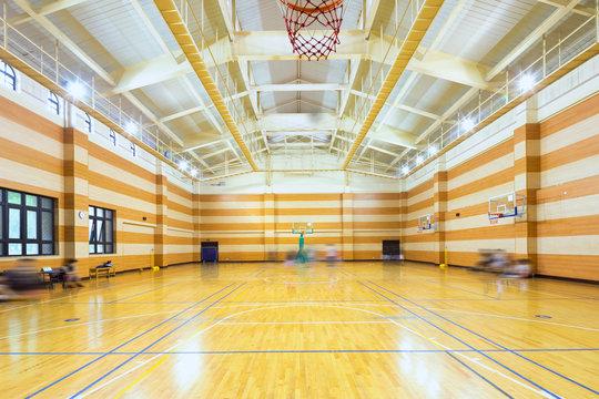 interior of empty basketball court