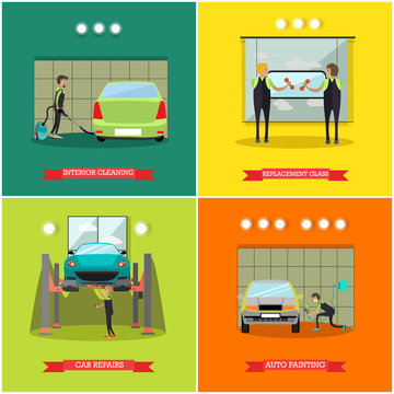 Vector set of car service station, repair shop posters, banners