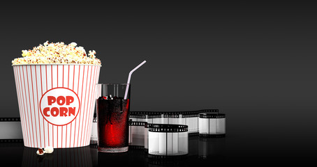 Popcorn and fast food drink. 3Drendering