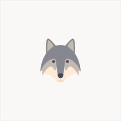 wolf icon flat design