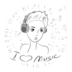 Cute beauty teenager,i love music