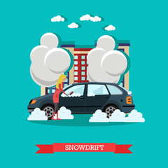 Snowdrift concept vector illustration in flat style