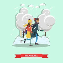 Snowfall concept vector illustration in flat style.