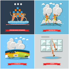 Vector set of winter and water sports concept flat posters