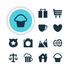 Vector Illustration Of 12 Location Icons. Editable Pack Of Landscape, Film , Cake Elements.