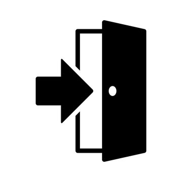 Open door / entrance with arrow or logout flat vector icon for apps and websites
