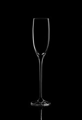 Elegant picture of champagne glass over the black background