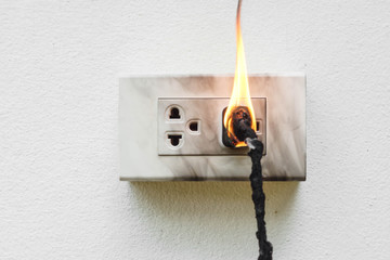Electricity short circuit / Electrical failure resulting in electricity wire burnt Wall mural