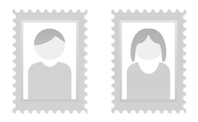 Platzhalter für Fotos von Mann und Frau