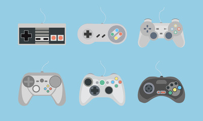 Set of retro gamepads and joysticks icons on blue background. Control console for video game. Vector illustration