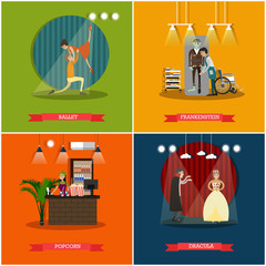 Vector set of cinema art concept posters in flat style
