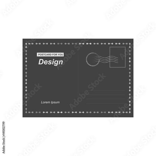 black vector postcard postal card for travel template design for