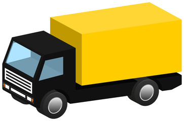 Isometric delivery truck icon 3D isolated on white background. Vector illustration. EPS10